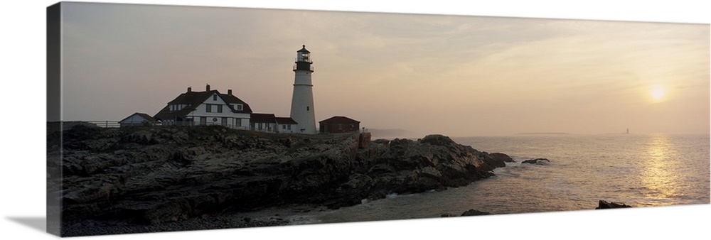Solid-Faced Canvas Print Wall Art entitled Portland Head Lighthouse Portland ME