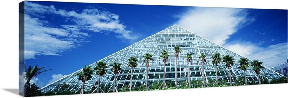 Large Solid-Faced Canvas Print Wall Art Print 48 x 16 entitled Pyramid Moody Gardens Galveston TX Solid-Faced Canvas Print entitled Pyramid Moody Gardens Galveston TX.  Multiple sizes available.  Primary colors within this image include Dark Blue, Sky Blue, Black, White.  Made in USA.  All products come with a 365 day workmanship guarantee.  Archival-quality UV-resistant inks.  Featuring a proprietary design, our canvases produce the tightest corners without any bubbles, ripples, or bumps and will not warp or sag over time.  Canvas depth is 1.25 and includes a finished backing with pre-installed hanging hardware.