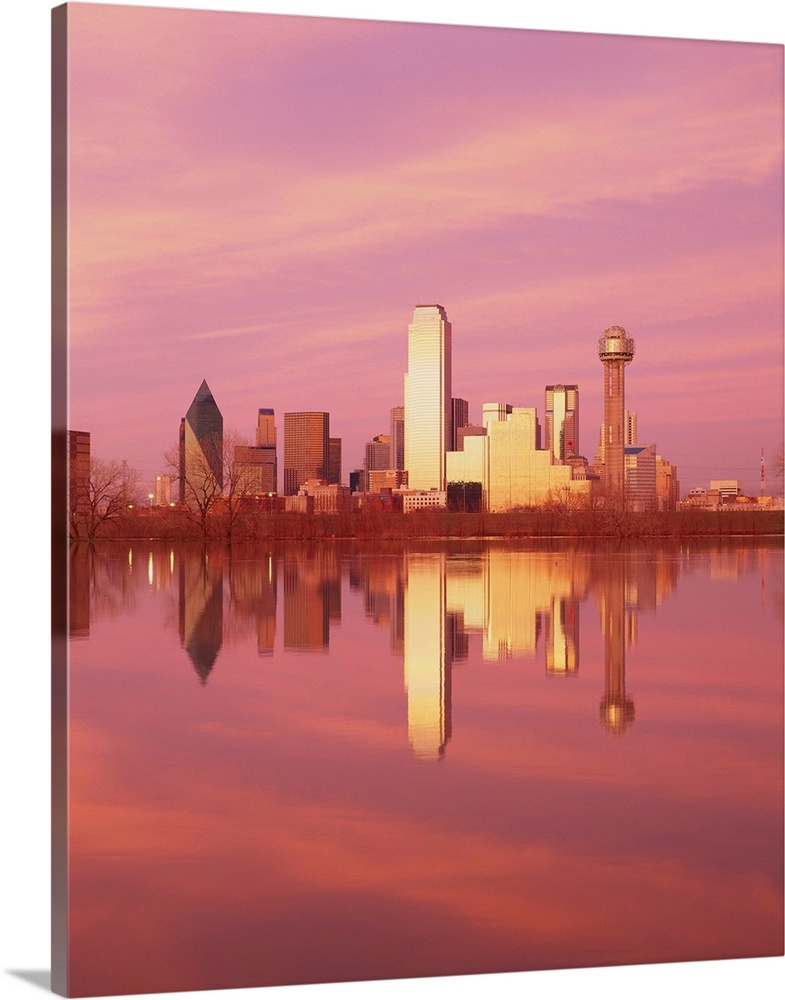 Solid-Faced Canvas Print Wall Art entitled Reflection of buildings on water,
