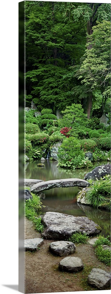 Large Solid-Faced Canvas Print Wall Art Print 12 x 36 entitled Rocks in a garden, Iwanami Garden, Yamagata, Japan Solid-Faced Canvas Print entitled Rocks in a garden, Iwanami Garden, Yamagata, Japan.  Multiple sizes available.  Primary colors within this image include Forest Green, Light Green, Black, Light Gray.  Made in USA.  Satisfaction guaranteed.  Archival-quality UV-resistant inks.  Canvas is handcrafted and made-to-order in the United States using high quality artist-grade canvas.  Canvas depth is 1.25 and includes a finished backing with pre-installed hanging hardware.