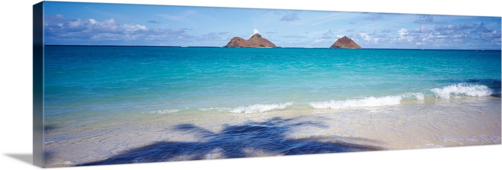 Large Solid-Faced Canvas Print Wall Art Print 48 x 16 entitled Shadow of a tree on the beach, Lanikai Beach, Oahu, Hawaii Solid-Faced Canvas Print entitled Shadow of a tree on the beach, Lanikai Beach, Oahu, Hawaii.  Panoramic landscape photograph of a tropical beach with the silhouette of a palm cast on the shore.  Multiple sizes available.  Primary colors within this image include Black, Light Gray, Pale Blue, Royal Blue.  Made in USA.  All products come with a 365 day workmanship guarantee.  Archival-quality UV-resistant inks.  Canvas is handcrafted and made-to-order in the United States using high quality artist-grade canvas.  Canvas depth is 1.25 and includes a finished backing with pre-installed hanging hardware.