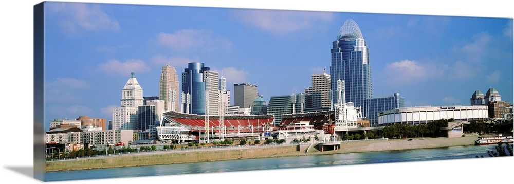 Solid-Faced Canvas Print Wall Art entitled Skyscrapers in a city, Cincinnati,