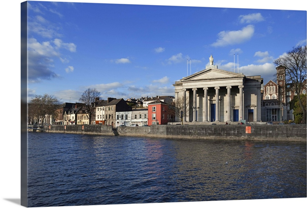 Solid-Faced Canvas Print Wall Art entitled St Mary's Church, The River Lee, Cork