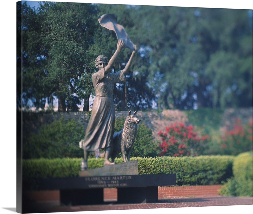 Large Solid-Faced Canvas Print Wall Art Print 30 x 24 entitled Statue in a garden, The Waving Girl, Savannah, Georgia Solid-Faced Canvas Print entitled Statue in a garden, The Waving Girl, Savannah, Georgia.  Multiple sizes available.  Primary colors within this image include Pink, Peach, Black, Gray.  Made in USA.  All products come with a 365 day workmanship guarantee.  Inks used are latex-based and designed to last.  Canvas is handcrafted and made-to-order in the United States using high quality artist-grade canvas.  Archival inks prevent fading and preserve as much fine detail as possible with no over-saturation or color shifting.