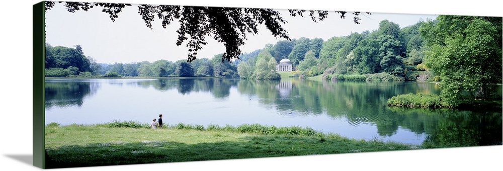 Large Solid-Faced Canvas Print Wall Art Print 48 x 16 entitled Stourhead Garden England Solid-Faced Canvas Print entitled Stourhead Garden England.  Multiple sizes available.  Primary colors within this image include Black, Gray, White, Dark Navy Blue.  Made in USA.  Satisfaction guaranteed.  Archival-quality UV-resistant inks.  Canvas depth is 1.25 and includes a finished backing with pre-installed hanging hardware.  Archival inks prevent fading and preserve as much fine detail as possible with no over-saturation or color shifting.