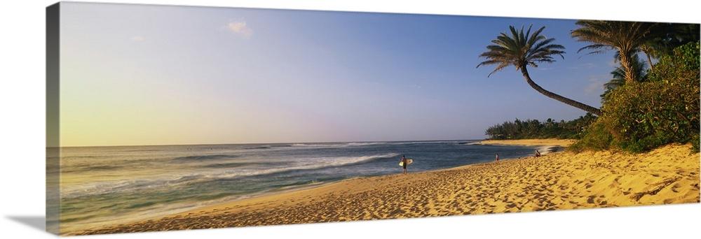 Solid-Faced Canvas Print Wall Art entitled Surfer on Beach HI