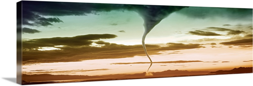 Solid-Faced Canvas Print Wall Art entitled Tornado in the sky