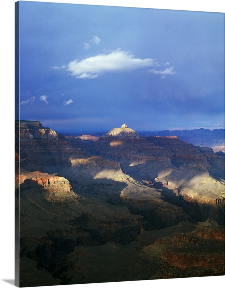Large Solid-Faced Canvas Print Wall Art Print 24 x 30 entitled View of Grand Canyon from Shoshone Point, storm cloud shado... Solid-Faced Canvas Print entitled View of Grand Canyon from Shoshone Point, storm cloud shadows, south rim, Grand Canyon National Park, Arizona.  Multiple sizes available.  Primary colors within this image include Brown, Dark Gray, Silver, Royal Blue.  Made in the USA.  All products come with a 365 day workmanship guarantee.  Inks used are latex-based and designed to last.  Canvas depth is 1.25 and includes a finished backing with pre-installed hanging hardware.  Featuring a proprietary design, our canvases produce the tightest corners without any bubbles, ripples, or bumps and will not warp or sag over time.