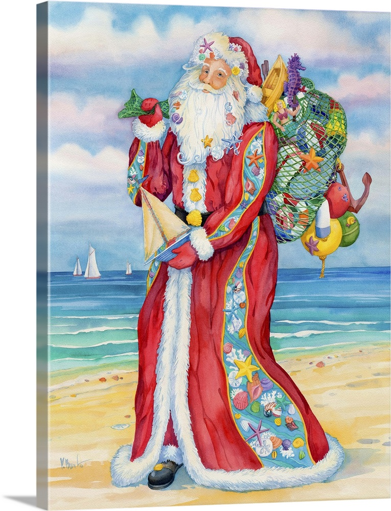 Large Solid-Faced Canvas Print Wall Art Print 30 x 40 entitled Coastal St. Nick Solid-Faced Canvas Print entitled Coastal St. Nick.  Santa Claus carrying a sack full of toys on a sandy beach.  Multiple sizes available.  Primary colors within this image include Dark Red, Peach, Black, Light Gray Blue.  Made in USA.  Satisfaction guaranteed.  Archival-quality UV-resistant inks.  Canvas is handcrafted and made-to-order in the United States using high quality artist-grade canvas.  Featuring a proprietary design, our canvases produce the tightest corners without any bubbles, ripples, or bumps and will not warp or sag over time.