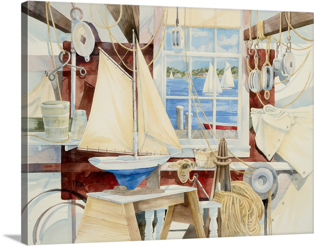 Large Solid-Faced Canvas Print Wall Art Print 40 x 30 entitled Sailor's Shop Solid-Faced Canvas Print entitled Sailors Shop.  Watercolor painting of a shop full of sailing-themed items, such as ropes and toy boats.  Multiple sizes available.  Primary colors within this image include Black, Gray, Silver, Gray Blue.  Made in USA.  Satisfaction guaranteed.  Inks used are latex-based and designed to last.  Canvas is handcrafted and made-to-order in the United States using high quality artist-grade canvas.  Featuring a proprietary design, our canvases produce the tightest corners without any bubbles, ripples, or bumps and will not warp or sag over time.