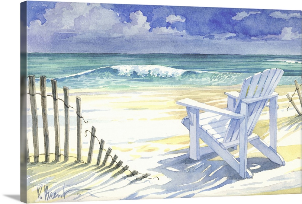 Large Solid-Faced Canvas Print Wall Art Print 30 x 20 entitled Sand and Shadows Solid-Faced Canvas Print entitled Sand and Shadows.  Contemporary painting of an adirondack chair on a sandy beach with an old fence.  Multiple sizes available.  Primary colors within this image include Black, Gray, White, Royal Blue.  Made in the USA.  All products come with a 365 day workmanship guarantee.  Inks used are latex-based and designed to last.  Canvas depth is 1.25 and includes a finished backing with pre-installed hanging hardware.  Featuring a proprietary design, our canvases produce the tightest corners without any bubbles, ripples, or bumps and will not warp or sag over time.