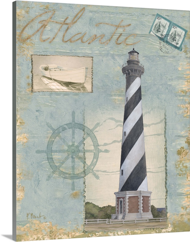 Solid-Faced Canvas Print Wall Art entitled Seacoast Lighthouse I