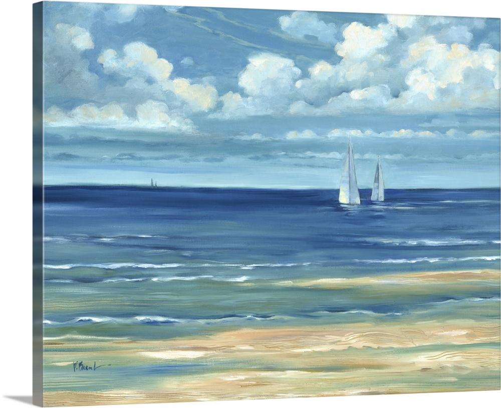 Solid-Faced Canvas drucken wand kunst entitled Summerset Sailboats