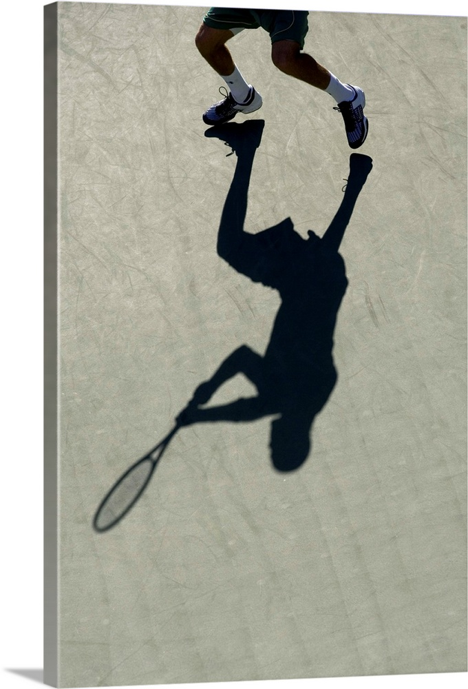 Large Solid-Faced Canvas Print Wall Art Print 20 x 30 entitled Shadow of tennis player in action Solid-Faced Canvas Print entitled Shadow of tennis player in action.  TN0417 106013.  Multiple sizes available.  Primary colors within this image include Black, Light Gray.  Made in USA.  Satisfaction guaranteed.  Inks used are latex-based and designed to last.  Archival inks prevent fading and preserve as much fine detail as possible with no over-saturation or color shifting.  Featuring a proprietary design, our canvases produce the tightest corners without any bubbles, ripples, or bumps and will not warp or sag over time.