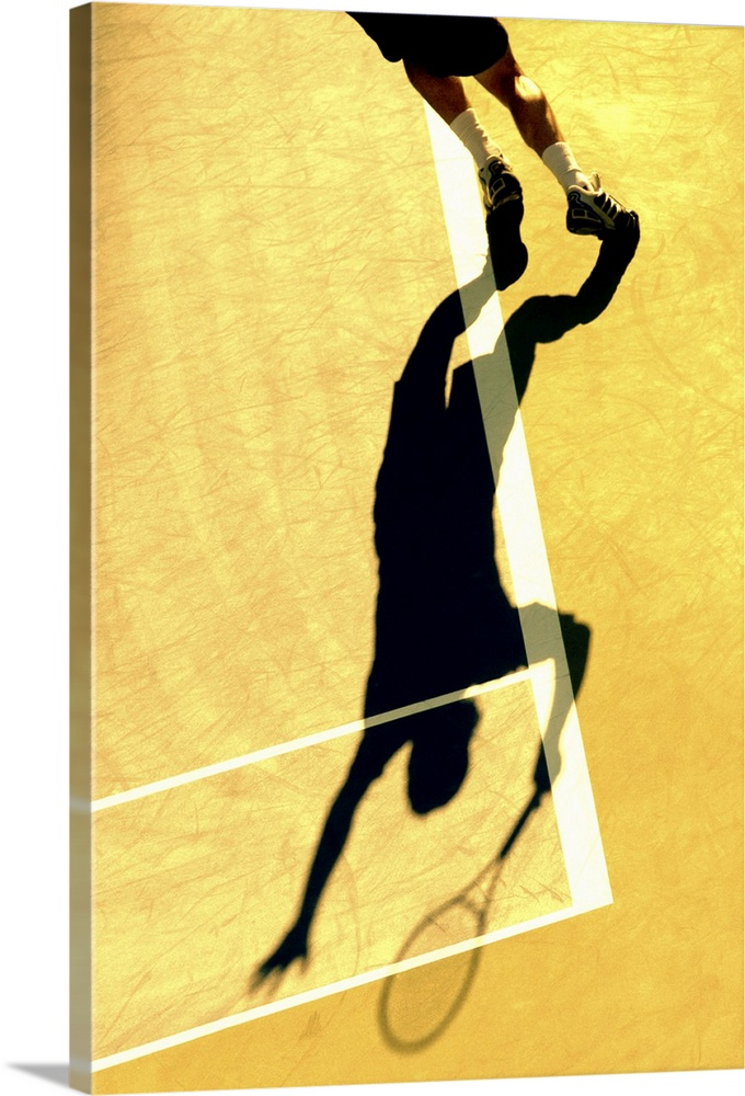 Large Solid-Faced Canvas Print Wall Art Print 20 x 30 entitled Shadow of tennis player serving Solid-Faced Canvas Print entitled Shadow of tennis player serving.  TN0417 106016.  Multiple sizes available.  Primary colors within this image include Light Yellow, Black, Gray, White.  Made in USA.  Satisfaction guaranteed.  Archival-quality UV-resistant inks.  Featuring a proprietary design, our canvases produce the tightest corners without any bubbles, ripples, or bumps and will not warp or sag over time.  Archival inks prevent fading and preserve as much fine detail as possible with no over-saturation or color shifting.