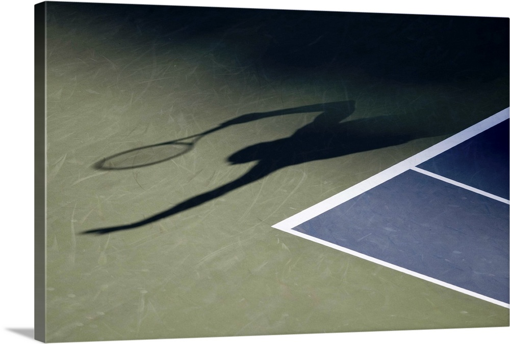 Large Solid-Faced Canvas Print Wall Art Print 30 x 20 entitled Shadow of tennis player serving Solid-Faced Canvas Print entitled Shadow of tennis player serving.  TN0417 106022.  Multiple sizes available.  Primary colors within this image include Light Gray, White, Dark Navy Blue.  Made in the USA.  Satisfaction guaranteed.  Archival-quality UV-resistant inks.  Featuring a proprietary design, our canvases produce the tightest corners without any bubbles, ripples, or bumps and will not warp or sag over time.  Archival inks prevent fading and preserve as much fine detail as possible with no over-saturation or color shifting.