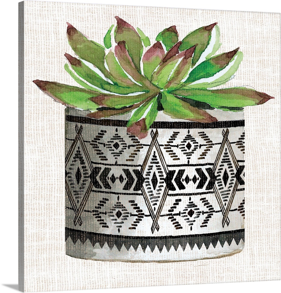 Large Solid-Faced Canvas Print Wall Art Print 20 x 20 entitled Cactus Mud Cloth Vase I Solid-Faced Canvas Print entitled Cactus Mud Cloth Vase I.  Multiple sizes available.  Primary colors within this image include Forest Green, Black, Gray, White.  Made in USA.  All products come with a 365 day workmanship guarantee.  Inks used are latex-based and designed to last.  Canvas is handcrafted and made-to-order in the United States using high quality artist-grade canvas.  Featuring a proprietary design, our canvases produce the tightest corners without any bubbles, ripples, or bumps and will not warp or sag over time.