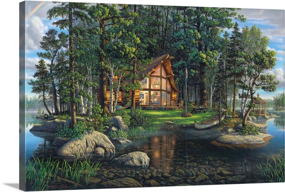 Large Solid-Faced Canvas Print Wall Art Print 36 x 24 entitled Freedom's Promise Solid-Faced Canvas Print entitled Freedoms Promise.  Contemporary painting of a cabin in the woods at the edge of a lake.  Multiple sizes available.  Primary colors within this image include Light Yellow, Dark Gray, Dark Forest Green, Light Gray Blue.  Made in USA.  Satisfaction guaranteed.  Inks used are latex-based and designed to last.  Featuring a proprietary design, our canvases produce the tightest corners without any bubbles, ripples, or bumps and will not warp or sag over time.  Canvas is handcrafted and made-to-order in the United States using high quality artist-grade canvas.