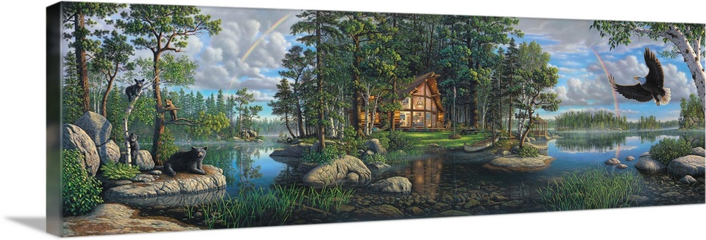 Large Solid-Faced Canvas Print Wall Art Print 60 x 20 entitled Freedom's Promise Trilogy Solid-Faced Canvas Print entitled Freedoms Promise Trilogy.  Contemporary painting of a cabin in the woods at the edge of the lake with wildlife nearby.  Multiple sizes available.  Primary colors within this image include Black, Gray, Silver.  Made in the USA.  All products come with a 365 day workmanship guarantee.  Inks used are latex-based and designed to last.  Archival inks prevent fading and preserve as much fine detail as possible with no over-saturation or color shifting.  Canvas depth is 1.25 and includes a finished backing with pre-installed hanging hardware.