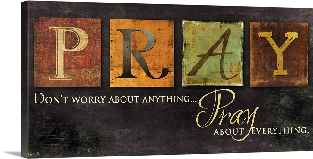 Large Gallery-Wrapped Canvas Wall Art Print 24 x 12 entitled Pray - Don't Worry Gallery-Wrapped Canvas entitled Pray - Dont Worry.  Multiple sizes available.  Primary colors within this image include Orange Peach Black Dark Forest Green.  Made in the USA.  Satisfaction guaranteed.  Archival-quality UV-resistant inks.  Canvas is a 65 polyester 35 cotton base with two acrylic latex primer basecoats and a semi-gloss inkjet receptive topcoat.  Canvas is designed to prevent fading.