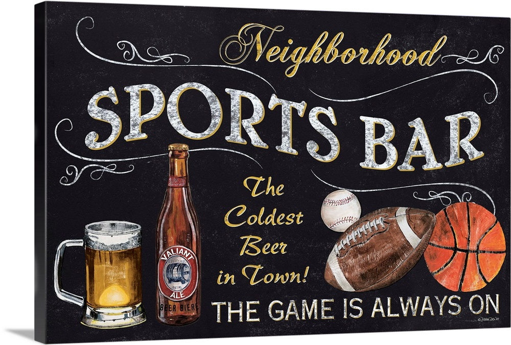 Solid-Faced Canvas drucken wand kunst entitled Sports Bar