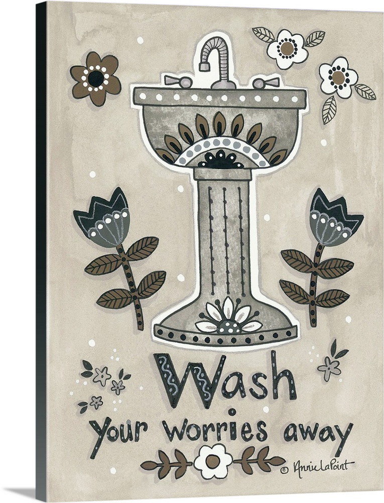 Large Gallery-Wrapped Canvas Wall Art Print 18 x 24 entitled Wash Your Worries Away Gallery-Wrapped Canvas entitled Wash Your Worries Away.  Decorative artwork of a sink with floral elements.  Multiple sizes available.  Primary colors within this image include Silver Dark Navy Blue.  Made in USA.  Satisfaction guaranteed.  Archival-quality UV-resistant inks.  Canvas is designed to prevent fading.  Canvas frames are built with farmed or reclaimed domestic pine or poplar wood.