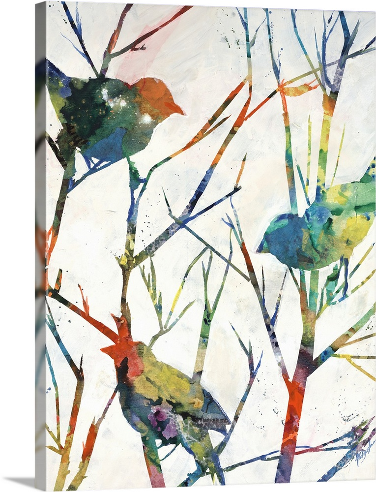 Large Solid-Faced Canvas Print Wall Art Print 30 x 40 entitled Birdsong Shadows I Solid-Faced Canvas Print entitled Birdsong Shadows I.  Contemporary art of several multicolored birds perched on bare tree branches that are vibrantly colored also.  Multiple sizes available.  Primary colors within this image include Orange, Light Yellow, Gray, White.  Made in USA.  Satisfaction guaranteed.  Archival-quality UV-resistant inks.  Canvas is handcrafted and made-to-order in the United States using high quality artist-grade canvas.  Archival inks prevent fading and preserve as much fine detail as possible with no over-saturation or color shifting.