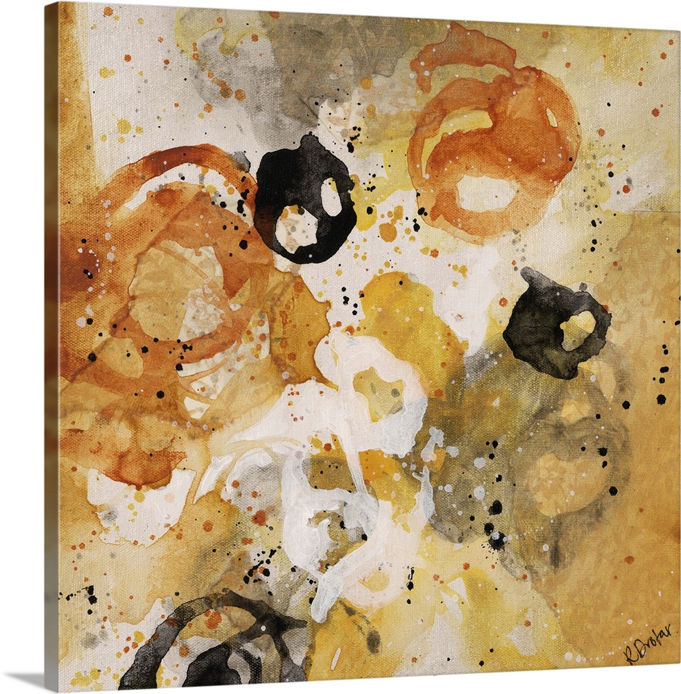 Large Gallery-Wrapped Canvas Wall Art Print 16 x 16 entitled Convivial Games I Gallery-Wrapped Canvas entitled Convivial Games I.  Abstract painting using bright yellow tones in splashes and splatters, almost looking like flowers.  Multiple sizes available.  Primary colors within this image include Brown, Peach, Black, Silver.  Made in the USA.  All products come with a 365 day workmanship guarantee.  Inks used are latex-based and designed to last.  Canvases have a UVB protection built in to protect against fading and moisture and are designed to last for over 100 years.  Canvas frames are built with farmed or reclaimed domestic pine or poplar wood.