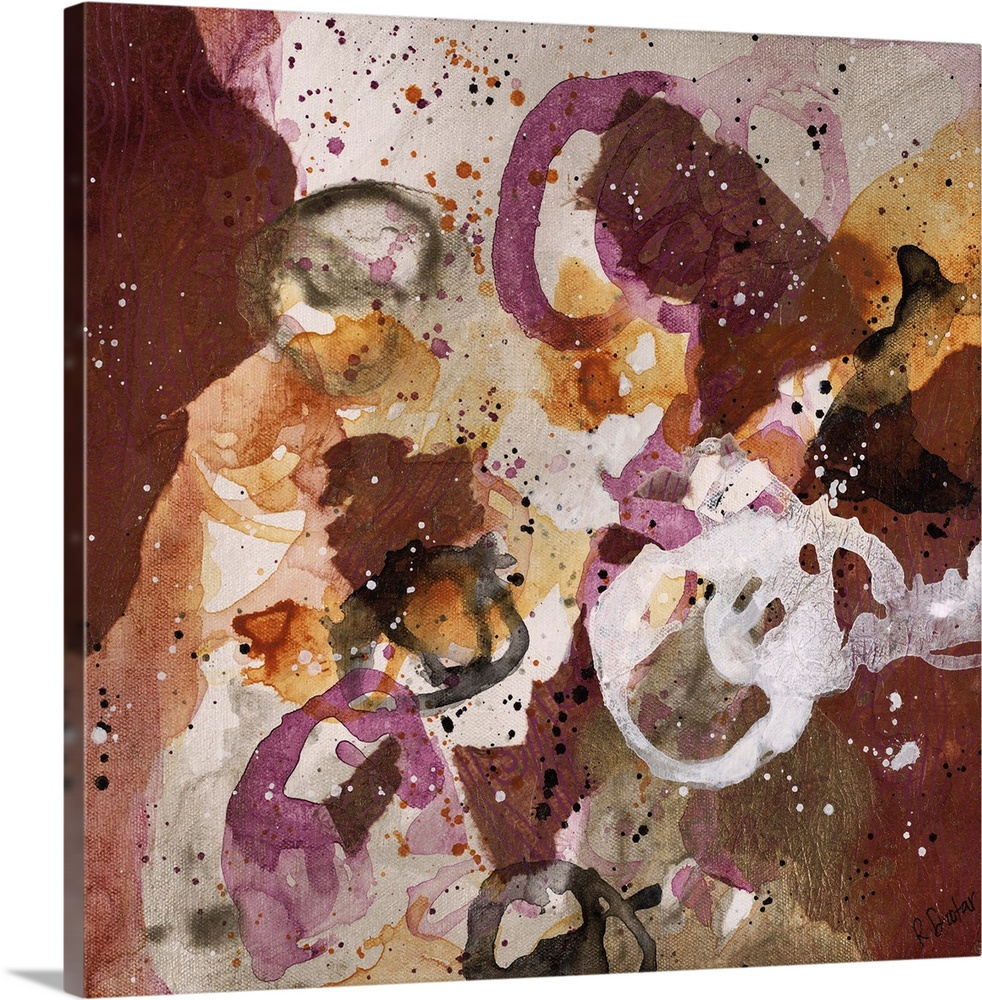 Large Gallery-Wrapped Canvas Wall Art Print 16 x 16 entitled Convivial Games VIII Gallery-Wrapped Canvas entitled Convivial Games VIII.  Abstract painting using purple and brown tones in splashes and splatters, almost looking like flowers.  Multiple sizes available.  Primary colors within this image include Brown, Plum, Black, Silver.  Made in USA.  Satisfaction guaranteed.  Archival-quality UV-resistant inks.  Canvas is designed to prevent fading.  Canvases are stretched across a 1.5 inch thick wooden frame with easy-to-mount hanging hardware.