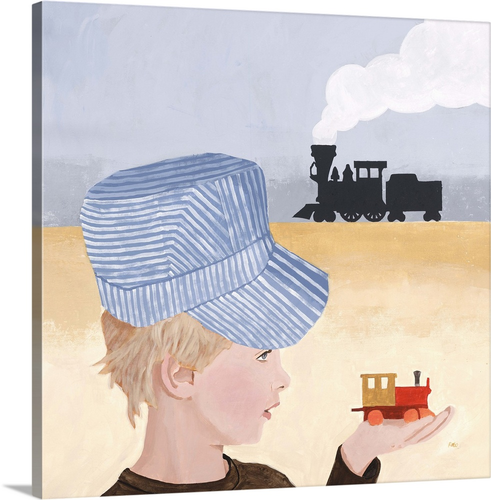 Large Solid-Faced Canvas Print Wall Art Print 20 x 20 entitled Flash and Film Solid-Faced Canvas Print entitled Flash and Film.  Contemporary painting of a young boy holding a toy train, with another train in the distance.  Multiple sizes available.  Primary colors within this image include Dark Red, Dark Gray, White, Light Gray Blue.  Made in the USA.  Satisfaction guaranteed.  Inks used are latex-based and designed to last.  Archival inks prevent fading and preserve as much fine detail as possible with no over-saturation or color shifting.  Canvas is handcrafted and made-to-order in the United States using high quality artist-grade canvas.
