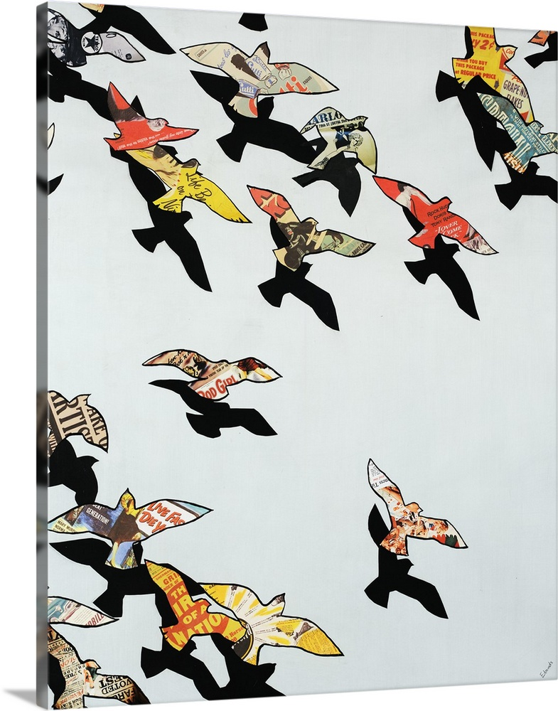 Large Solid-Faced Canvas Print Wall Art Print 24 x 30 entitled Retro Flight Solid-Faced Canvas Print entitled Retro Flight.  Contemporary art of a flock of birds flying, their outlines filled with portions of colorful vintage advertisements while their solid black shadows can be seen just beneath them.  Multiple sizes available.  Primary colors within this image include Brown, Light Yellow, Black, Silver.  Made in the USA.  All products come with a 365 day workmanship guarantee.  Inks used are latex-based and designed to last.  Featuring a proprietary design, our canvases produce the tightest corners without any bubbles, ripples, or bumps and will not warp or sag over time.  Canvas depth is 1.25 and includes a finished backing with pre-installed hanging hardware.