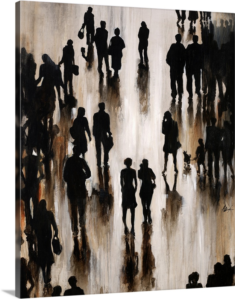 Large Solid-Faced Canvas Print Wall Art Print 24 x 30 entitled Shadow Walking Solid-Faced Canvas Print entitled Shadow Walking.  Contemporary painting of silhouetted figures casting shadows, all appearing as if motion.  Multiple sizes available.  Primary colors within this image include Black, Silver.  Made in USA.  All products come with a 365 day workmanship guarantee.  Inks used are latex-based and designed to last.  Archival inks prevent fading and preserve as much fine detail as possible with no over-saturation or color shifting.  Featuring a proprietary design, our canvases produce the tightest corners without any bubbles, ripples, or bumps and will not warp or sag over time.
