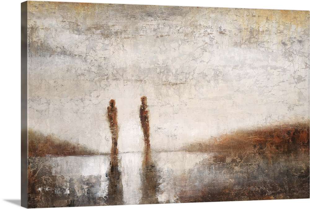 Large Solid-Faced Canvas Print Wall Art Print 30 x 20 entitled Shadows on the Shore II Solid-Faced Canvas Print entitled Shadows on the Shore II.  Contemporary painting of two silhouetted figures casting shadows in the distance.  Multiple sizes available.  Primary colors within this image include Brown, Peach, Gray, Silver.  Made in the USA.  All products come with a 365 day workmanship guarantee.  Inks used are latex-based and designed to last.  Canvas is handcrafted and made-to-order in the United States using high quality artist-grade canvas.  Canvas depth is 1.25 and includes a finished backing with pre-installed hanging hardware.