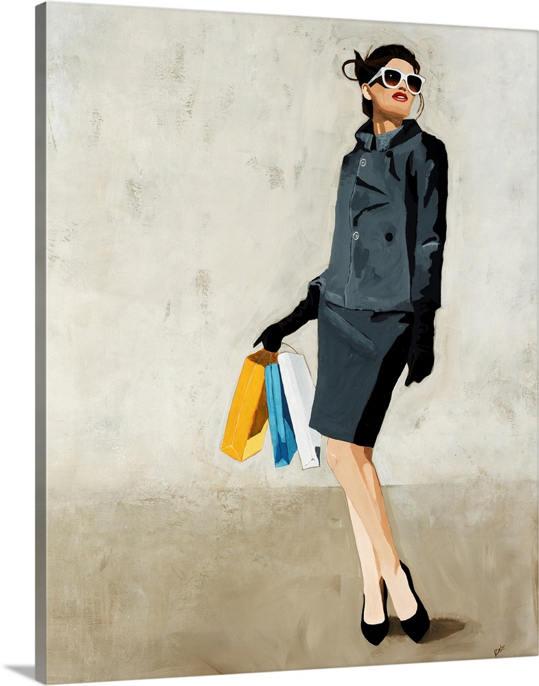 Large Gallery-Wrapped Canvas Wall Art Print 16 x 20 entitled Spree Gallery-Wrapped Canvas entitled Spree.  Contemporary painting of a fashionable woman in a grey skirt and jacket looking upward through large sunglasses as she holds several shopping bags.  Multiple sizes available.  Primary colors within this image include Dark Yellow Dark Gray Silver.  Made in the USA.  All products come with a 365 day workmanship guarantee.  Inks used are latex-based and designed to last.  Canvases have a UVB protection built in to protect against fading and moisture and are designed to last for over 100 years.  Canvas is designed to prevent fading.