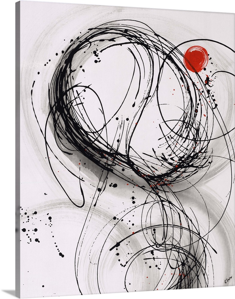 Large Solid-Faced Canvas Print Wall Art Print 24 x 30 entitled Timing II Solid-Faced Canvas Print entitled Timing II.  Abstract painting using thin black lines to create organic shapes, with a little red circle towards the top of the image.  Multiple sizes available.  Primary colors within this image include Dark Red, Black, Gray, White.  Made in the USA.  All products come with a 365 day workmanship guarantee.  Inks used are latex-based and designed to last.  Canvas depth is 1.25 and includes a finished backing with pre-installed hanging hardware.  Archival inks prevent fading and preserve as much fine detail as possible with no over-saturation or color shifting.