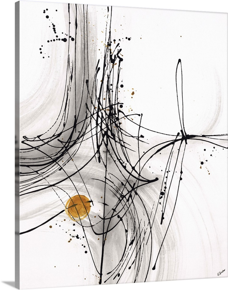 Large Solid-Faced Canvas Print Wall Art Print 24 x 30 entitled Timing IV Solid-Faced Canvas Print entitled Timing IV.  Abstract painting using thin black lines to create fluid movement, with a little gold circle towards the bottom of the image.  Multiple sizes available.  Primary colors within this image include Brown, Black, Gray, White.  Made in the USA.  All products come with a 365 day workmanship guarantee.  Archival-quality UV-resistant inks.  Archival inks prevent fading and preserve as much fine detail as possible with no over-saturation or color shifting.  Canvas depth is 1.25 and includes a finished backing with pre-installed hanging hardware.