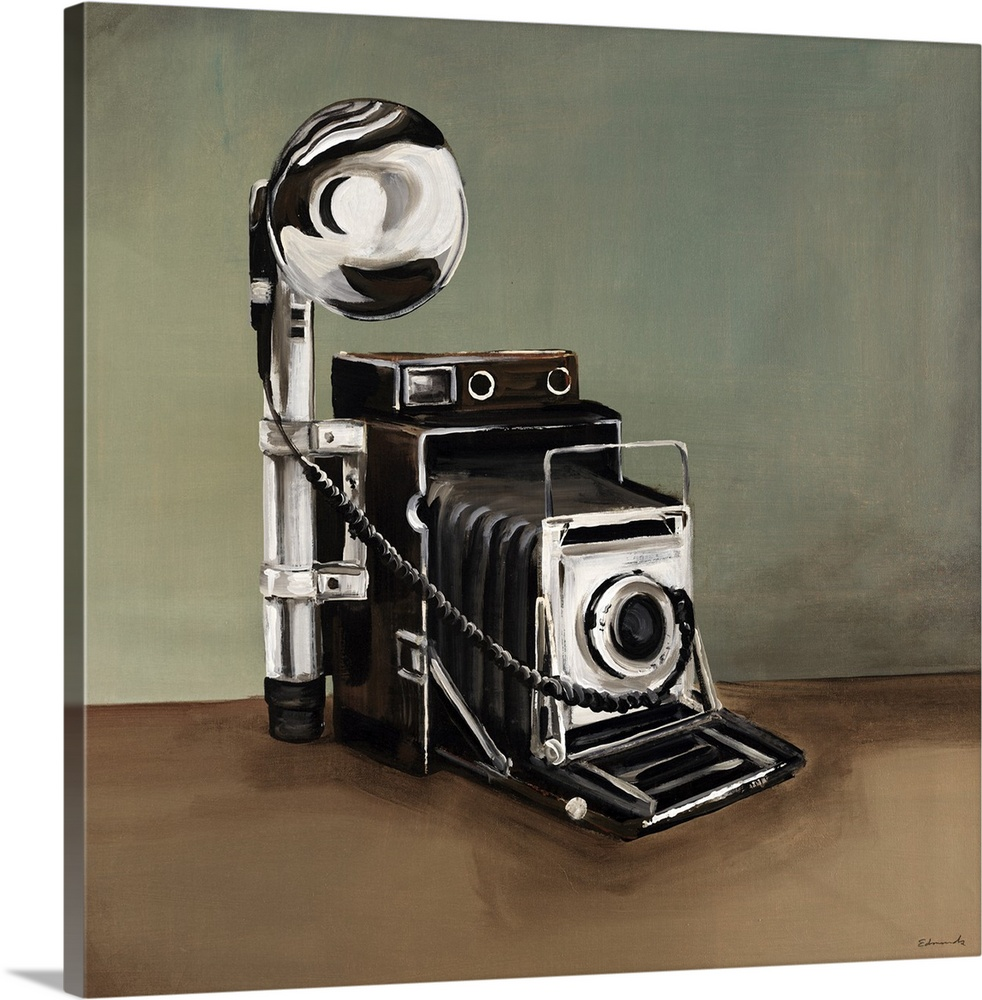 Large Gallery-Wrapped Canvas Wall Art Print 16 x 16 entitled Vintage Classics II Gallery-Wrapped Canvas entitled Vintage Classics II.  This is a painting of a vintage style speed graphic camera.  Multiple sizes available.  Primary colors within this image include Black Gray White.  Made in USA.  Satisfaction guaranteed.  Inks used are latex-based and designed to last.  Museum-quality artist-grade canvas mounted on sturdy wooden stretcher bars 1.5 thick.  Comes ready to hang.  Canvases have a UVB protection built in to protect against fading and moisture and are designed to last for over 100 years.