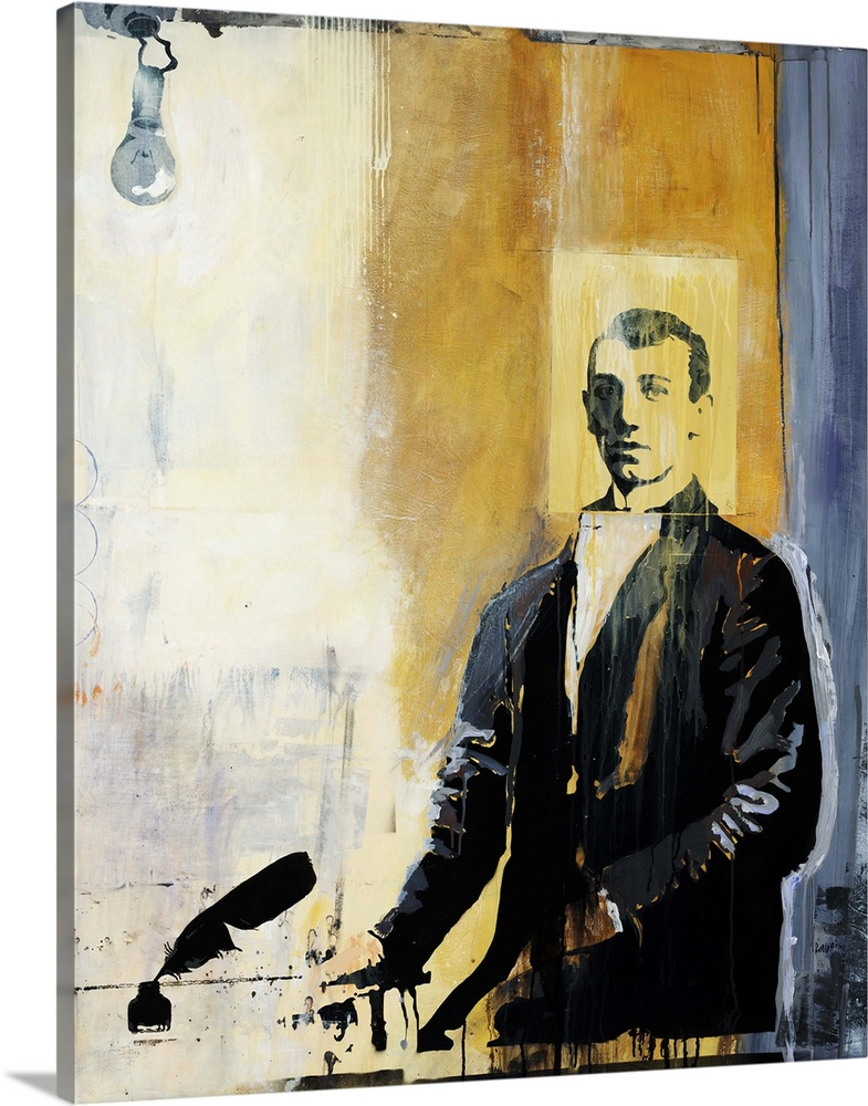 Large Gallery-Wrapped Canvas Wall Art Print 16 x 20 entitled Write Idea Gallery-Wrapped Canvas entitled Write Idea.  Figurative painting of a man in a jacket standing at a table next to a feathered pen and bottle of ink.  A single lightbulb hangs in the top left on a multicolored background of thick vertical stripes.  Multiple sizes available.  Primary colors within this image include Dark Yellow Black Silver Gray Blue.  Made in USA.  Satisfaction guaranteed.  Inks used are latex-based and designed to last.  Canvas frames are built with farmed or reclaimed domestic pine or poplar wood.  Canvas is designed to prevent fading.