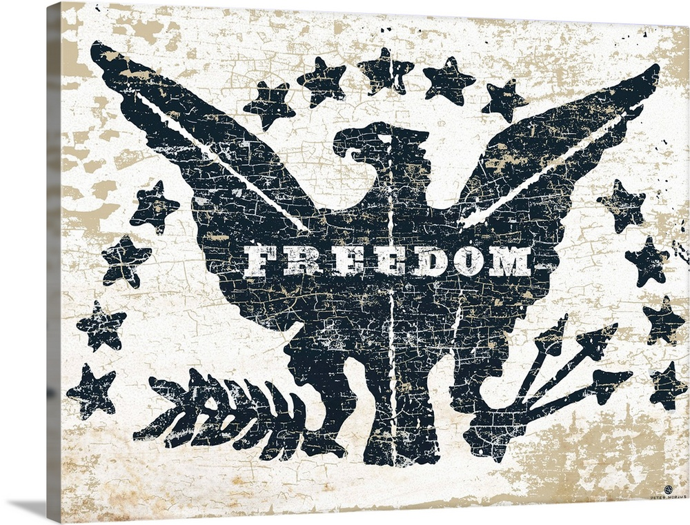 Large Solid-Faced Canvas Print Wall Art Print 48 x 36 entitled Freedom Eagle Solid-Faced Canvas Print entitled Freedom Eagle.  Distressed image of an American eagle with the words Freedom on a gray and rust background.  Multiple sizes available.  Primary colors within this image include Black, Gray, White.  Made in the USA.  All products come with a 365 day workmanship guarantee.  Inks used are latex-based and designed to last.  Canvas depth is 1.25 and includes a finished backing with pre-installed hanging hardware.  Archival inks prevent fading and preserve as much fine detail as possible with no over-saturation or color shifting.