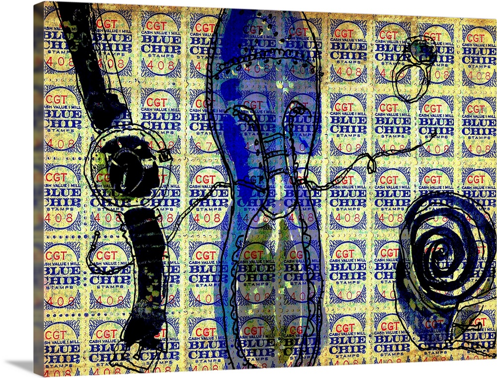 Large Solid-Faced Canvas Print Wall Art Print 40 x 30 entitled Man Things Solid-Faced Canvas Print entitled Man Things.  A wristwatch, ring, belt and dress shoe with a blue chip stamp background.  Multiple sizes available.  Primary colors within this image include Blue, Dark Blue, Peach, Black.  Made in USA.  Satisfaction guaranteed.  Inks used are latex-based and designed to last.  Canvas is handcrafted and made-to-order in the United States using high quality artist-grade canvas.  Canvas depth is 1.25 and includes a finished backing with pre-installed hanging hardware.