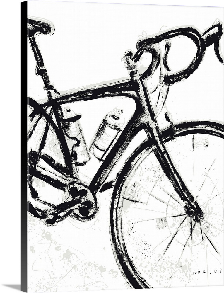 Solid-Faced Canvas Print Wall Art entitled Road Bike Painting