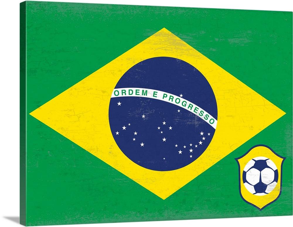 Canvas Kunst Drucken  Soccer Flag, Brazil
