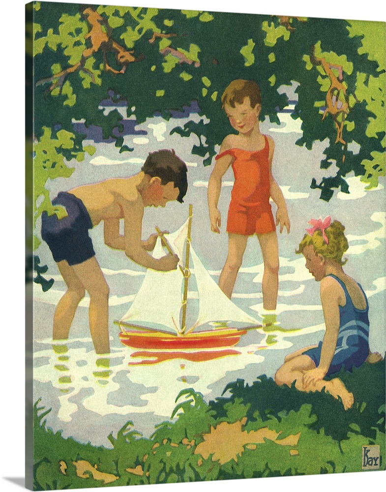 Large Solid-Faced Canvas Print Wall Art Print 24 x 30 entitled Boys with Toy Sailboat Solid-Faced Canvas Print entitled Boys with Toy Sailboat.  Multiple sizes available.  Primary colors within this image include Peach, Light Yellow, White, Dark Forest Green.  Made in the USA.  All products come with a 365 day workmanship guarantee.  Archival-quality UV-resistant inks.  Canvas is handcrafted and made-to-order in the United States using high quality artist-grade canvas.  Archival inks prevent fading and preserve as much fine detail as possible with no over-saturation or color shifting.