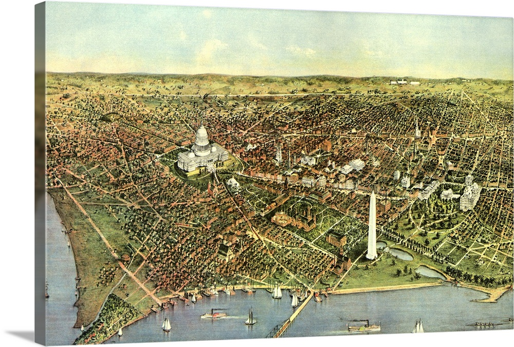 Canvas Kunst Drucken  Map of Washington D.C. 1892