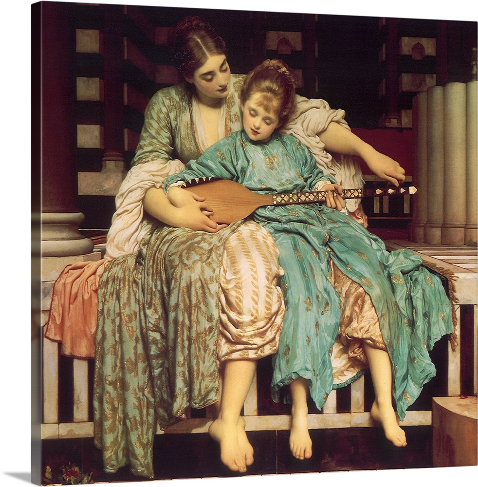 Large Gallery-Wrapped Canvas Wall Art Print 20 x 19 entitled Mother Teaches Child Gallery-Wrapped Canvas entitled Mother Teaches Child.  Music Lesson.  Multiple sizes available.  Primary colors within this image include Brown Peach Dark Gray Gray.  Made in USA.  Satisfaction guaranteed.  Archival-quality UV-resistant inks.  Canvases have a UVB protection built in to protect against fading and moisture and are designed to last for over 100 years.  Canvas is acid-free and 20 millimeters thick.