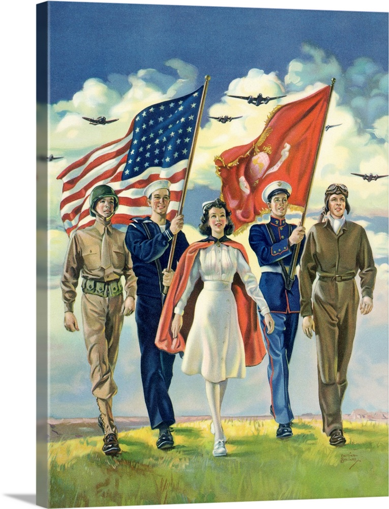 Large Solid-Faced Canvas Print Wall Art Print 18 x 24 entitled Parade and Flags Solid-Faced Canvas Print entitled Parade and Flags.  Freedom Forever.  Multiple sizes available.  Primary colors within this image include Pink, White, Gray Blue, Dark Navy Blue.  Made in the USA.  All products come with a 365 day workmanship guarantee.  Archival-quality UV-resistant inks.  Canvas is handcrafted and made-to-order in the United States using high quality artist-grade canvas.  Canvas depth is 1.25 and includes a finished backing with pre-installed hanging hardware.