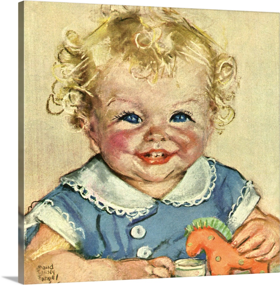 Large Solid-Faced Canvas Print Wall Art Print 20 x 20 entitled Smiling Baby with Toy Horse Solid-Faced Canvas Print entitled Smiling Baby with Toy Horse.  Multiple sizes available.  Primary colors within this image include Peach, Gray, Gray Blue.  Made in the USA.  Satisfaction guaranteed.  Inks used are latex-based and designed to last.  Archival inks prevent fading and preserve as much fine detail as possible with no over-saturation or color shifting.  Canvas depth is 1.25 and includes a finished backing with pre-installed hanging hardware.