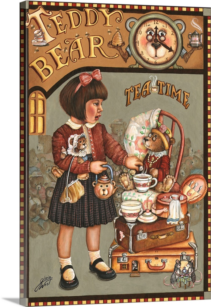 Large Solid-Faced Canvas Print Wall Art Print 20 x 30 entitled Teddy Bear Tea Time Solid-Faced Canvas Print entitled Teddy Bear Tea Time.  Multiple sizes available.  Primary colors within this image include Brown, Peach, Dark Gray.  Made in the USA.  All products come with a 365 day workmanship guarantee.  Archival-quality UV-resistant inks.  Featuring a proprietary design, our canvases produce the tightest corners without any bubbles, ripples, or bumps and will not warp or sag over time.  Canvas depth is 1.25 and includes a finished backing with pre-installed hanging hardware.