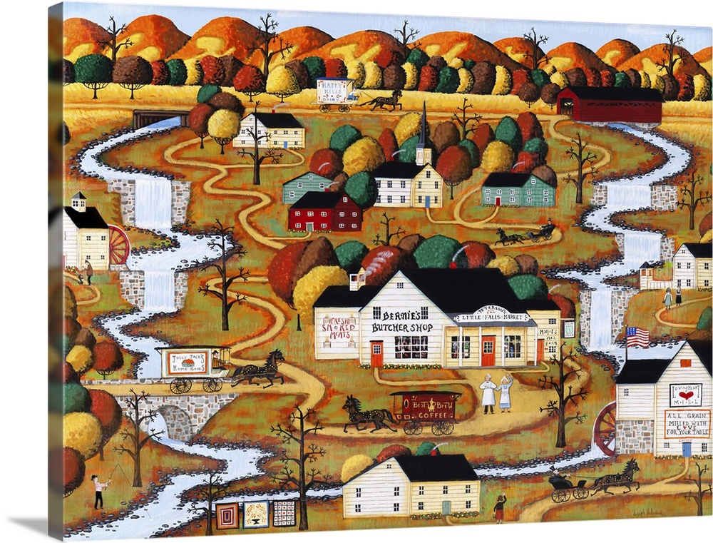 Solid-Faced Canvas Print Wall Art entitled The Market at Little Falls