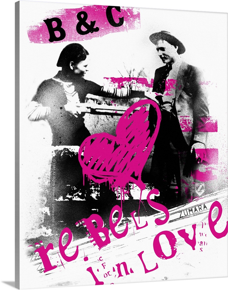 Large Solid-Faced Canvas Print Wall Art Print 24 x 30 entitled Bonnie and Clyde Rebels In Love Solid-Faced Canvas Print entitled Bonnie and Clyde Rebels In Love.  Multiple sizes available.  Primary colors within this image include Fuschia, Lilac, Black, White.  Made in the USA.  Satisfaction guaranteed.  Archival-quality UV-resistant inks.  Featuring a proprietary design, our canvases produce the tightest corners without any bubbles, ripples, or bumps and will not warp or sag over time.  Canvas is handcrafted and made-to-order in the United States using high quality artist-grade canvas.